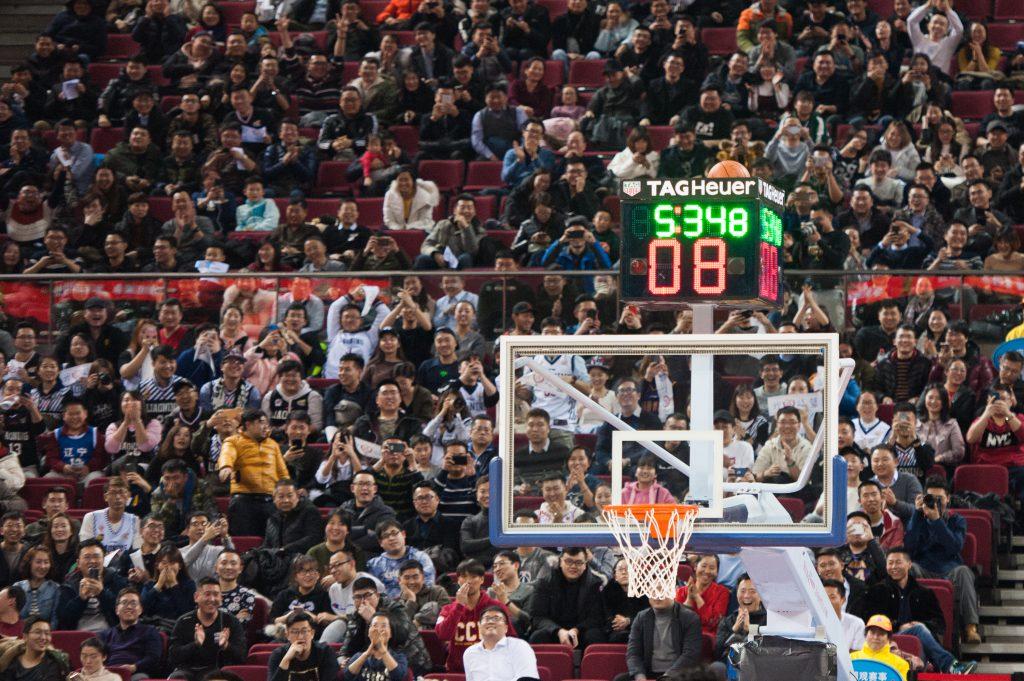 panier et horloge basketball